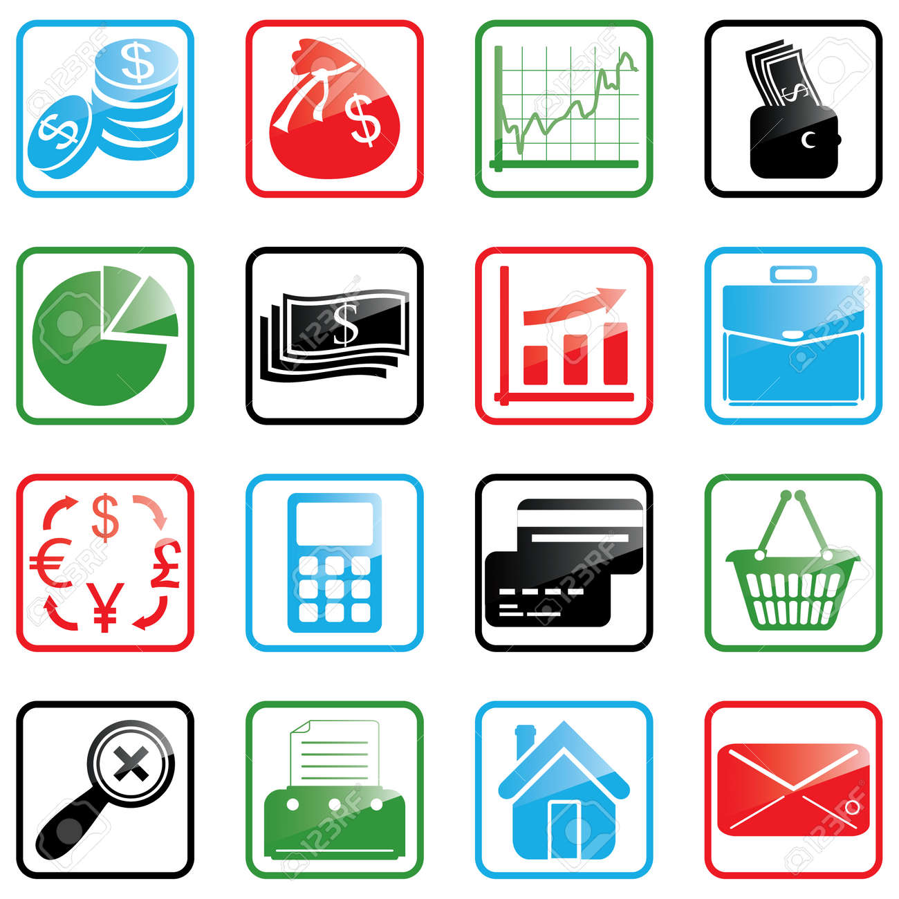 Vector illustration of finance and shopping icons Stock Vector - 3257043