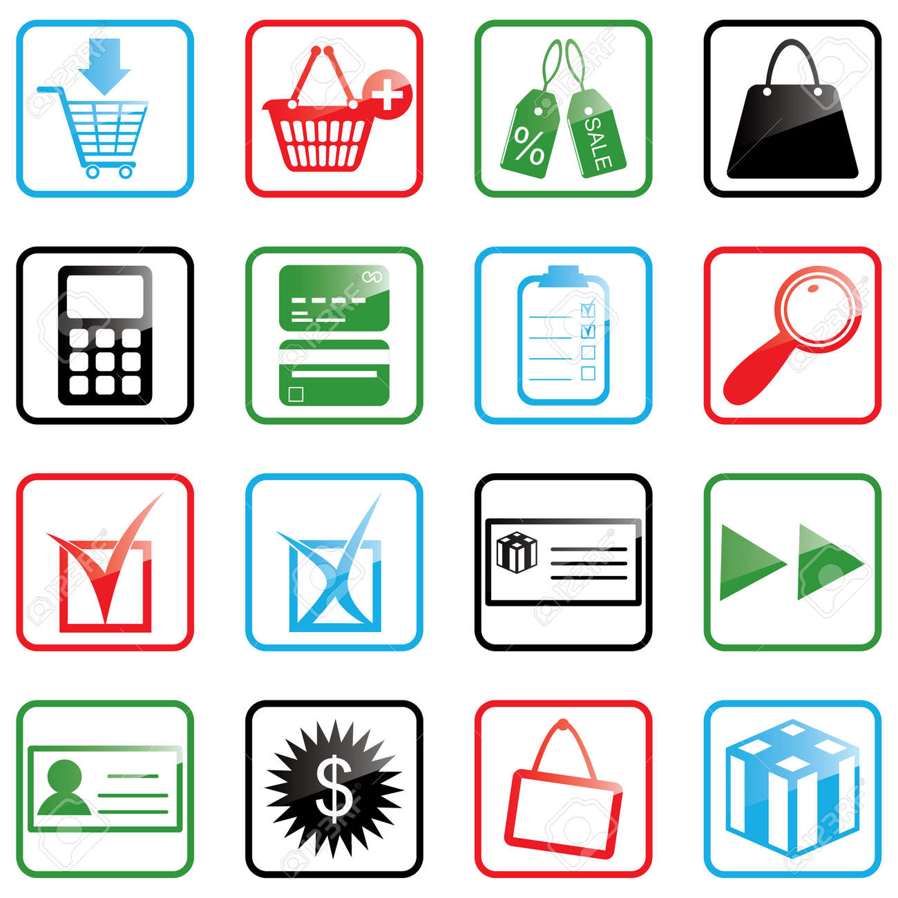Vector illustration of shopping icons Stock Vector - 3257042