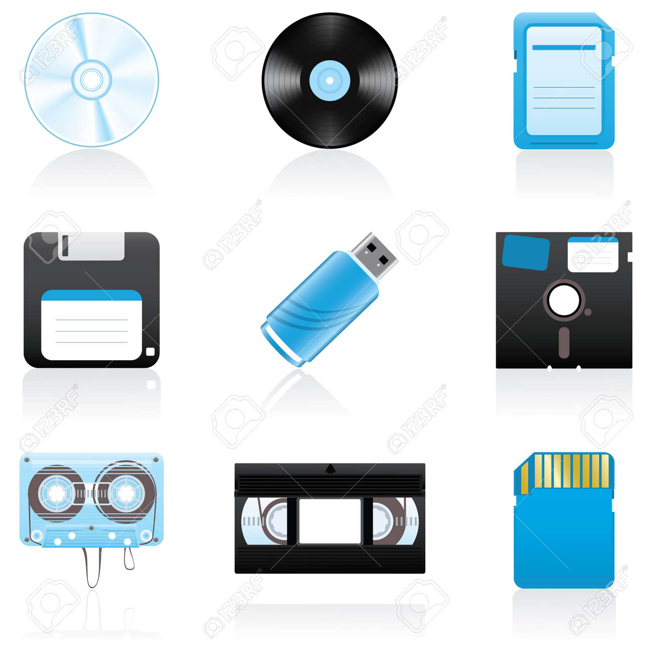 Set with storage media icons Stock Vector - 3559030