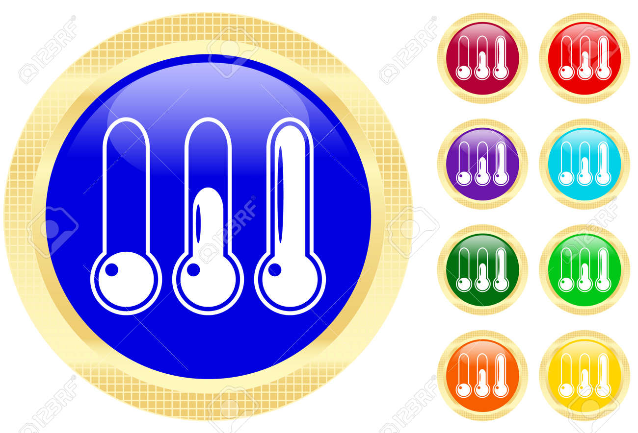 Icon of thermometer on shiny buttons Stock Vector - 3702495