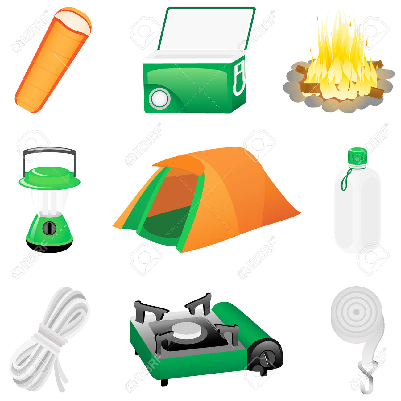 Set with camping icons Stock Vector - 4676444