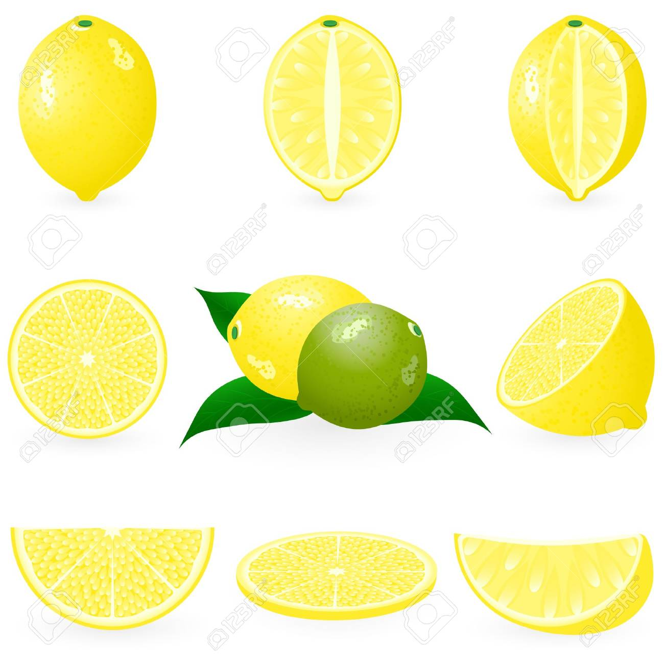 Icon Set Lemon Stock Vector - 10226263