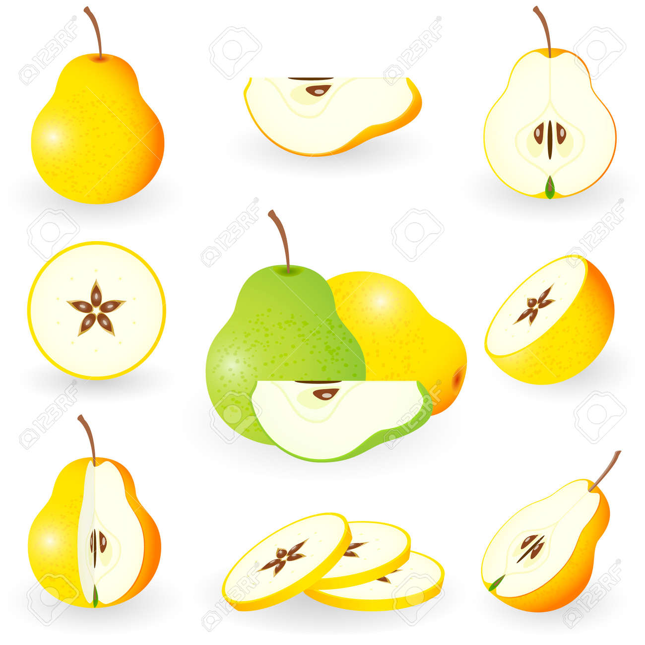 Icon Set Pear Stock Vector - 10226261