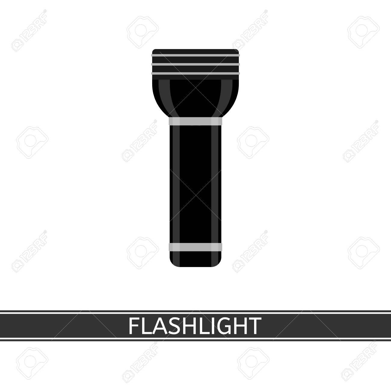 Illustration Poche De Noire Plat Sur Un Blanc Icône Camping Fond TourismeLa Isolé Dans Lampe Le Pour VectorielleLed Style dxtQsorBhC