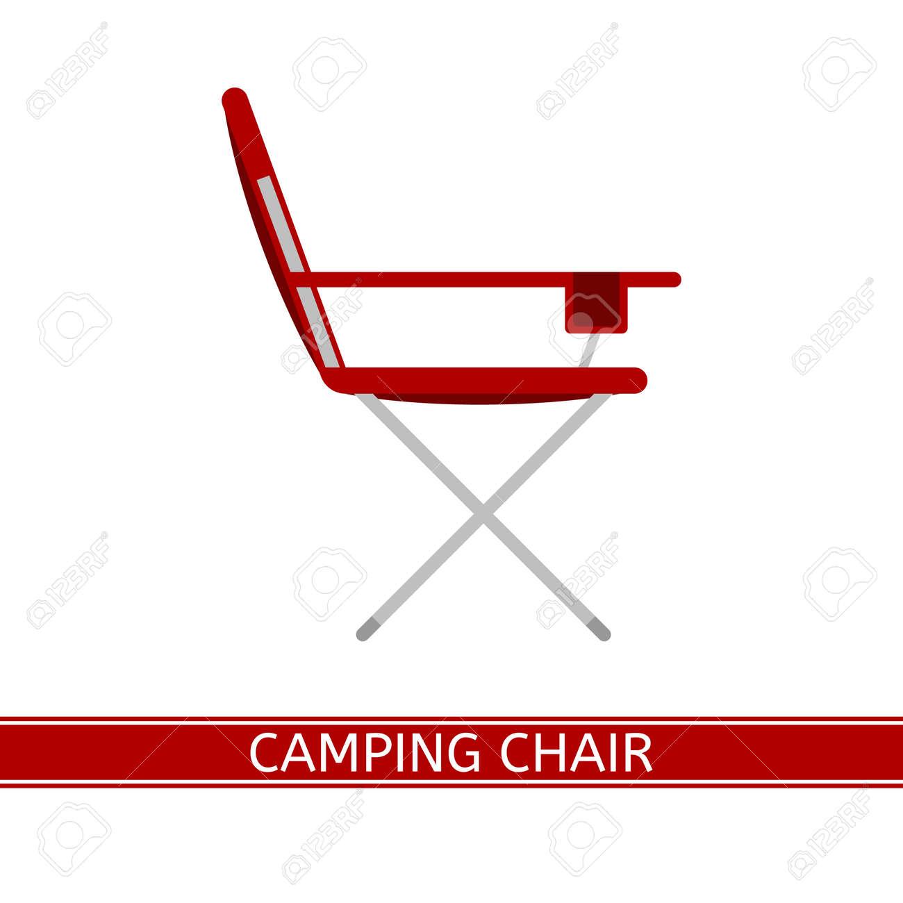 Blanc Fond Pique Nique Au Pliante Chaise Camping Sur Plat PortableIcône Design Vecteur De Isolé ChrQtsd