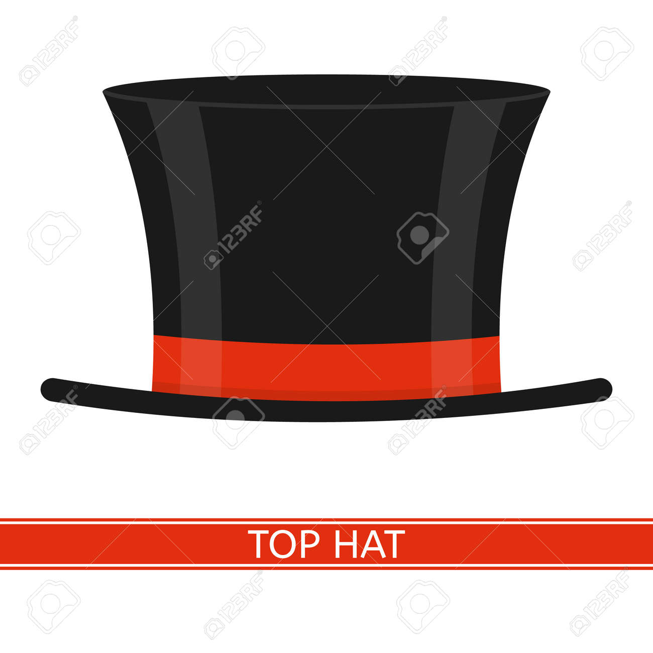 0fb107ee7a6 Vector - Vector illustration of elegant top hat isolated on white  background. Black cylinder with red ribbon in flat style.