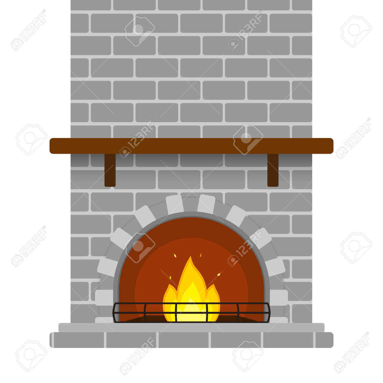Illustration Of Grey Brick Fireplace Isolated On White Background