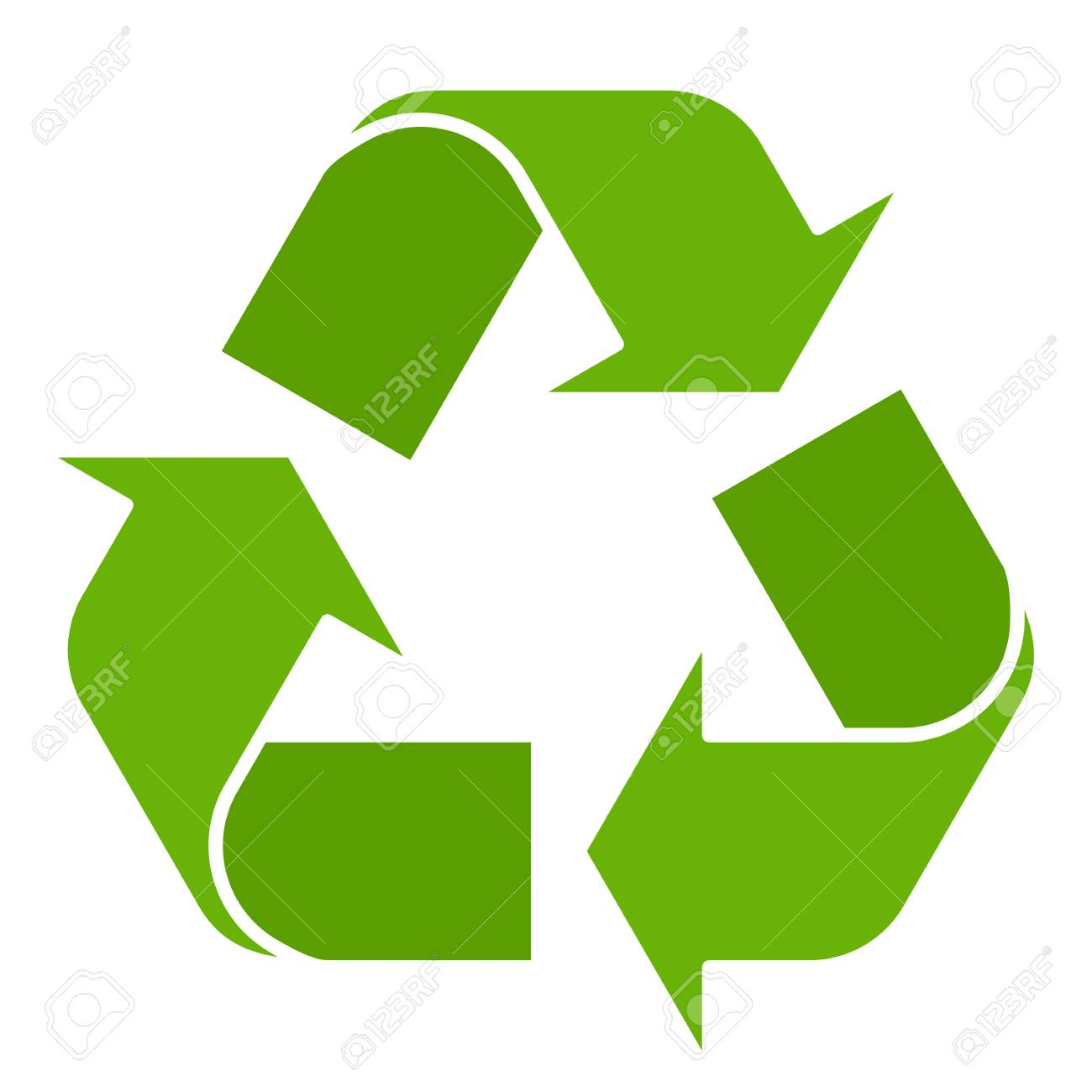 Vector illustration of green recycle symbol isolated on white background. Recycling sign in flat style. - 91755007