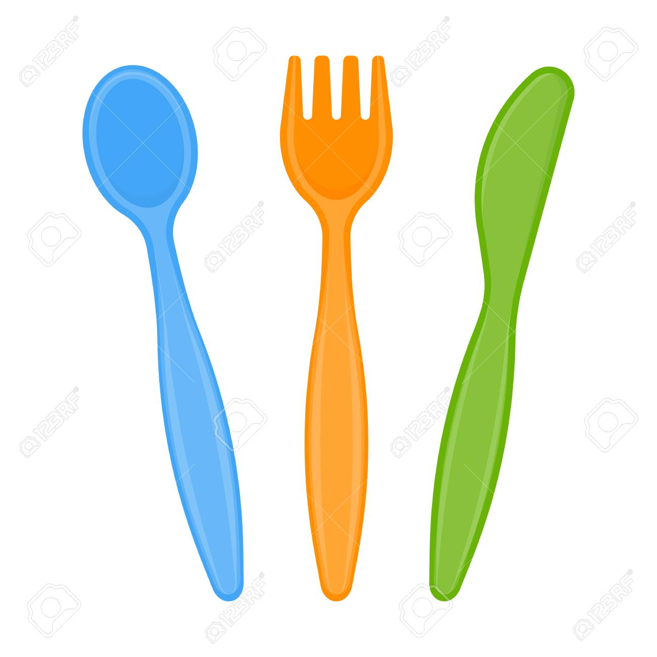 Vector Illustration Of Plastic Spoon Fork And Knife Isolated