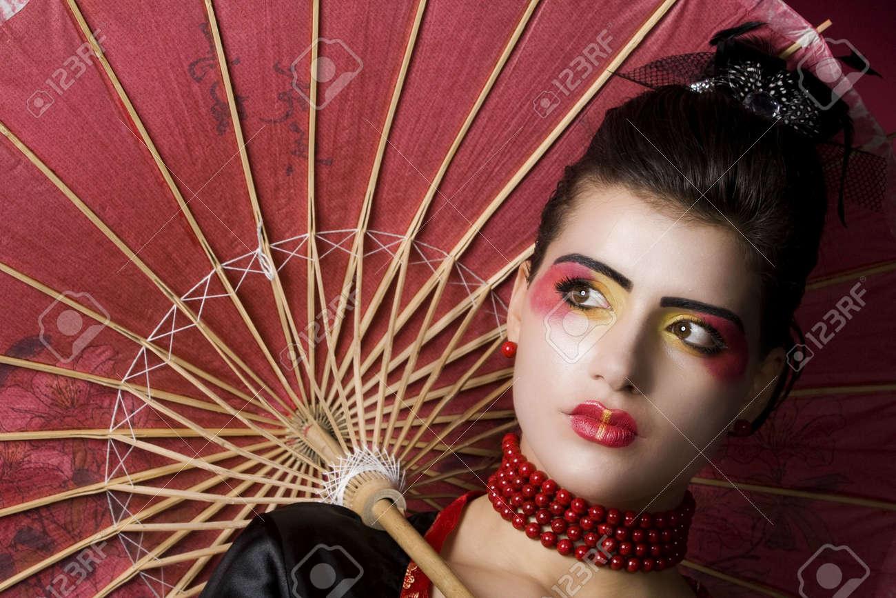 beautiful geisha portrait in studio Stock Photo - 6288287