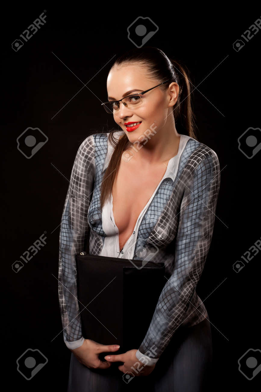 Frau brille nackt foto 8