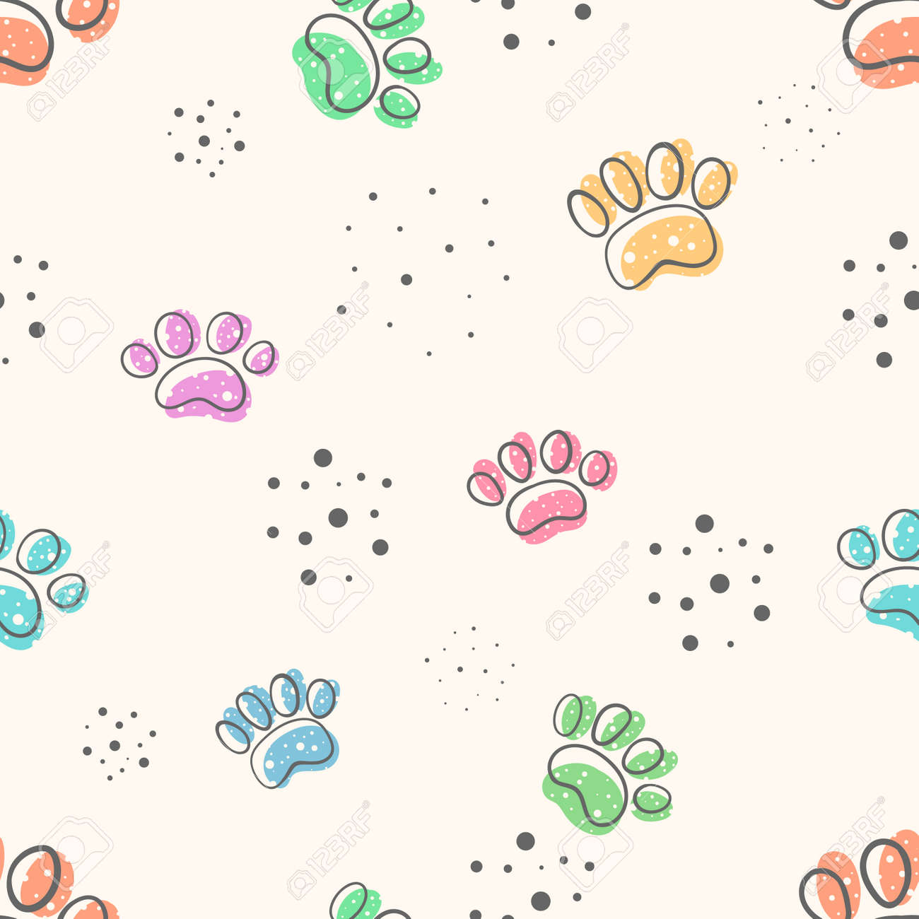 Dog Paw Cute Seamles Pattern Hand Draw