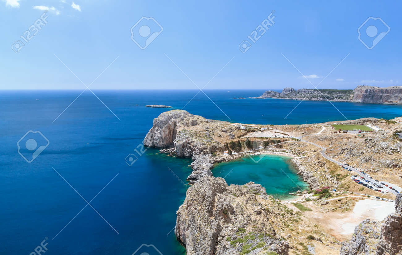Bay of the Apostle Paul in the form of heart with green water of Rhodes, Greece - 37578368