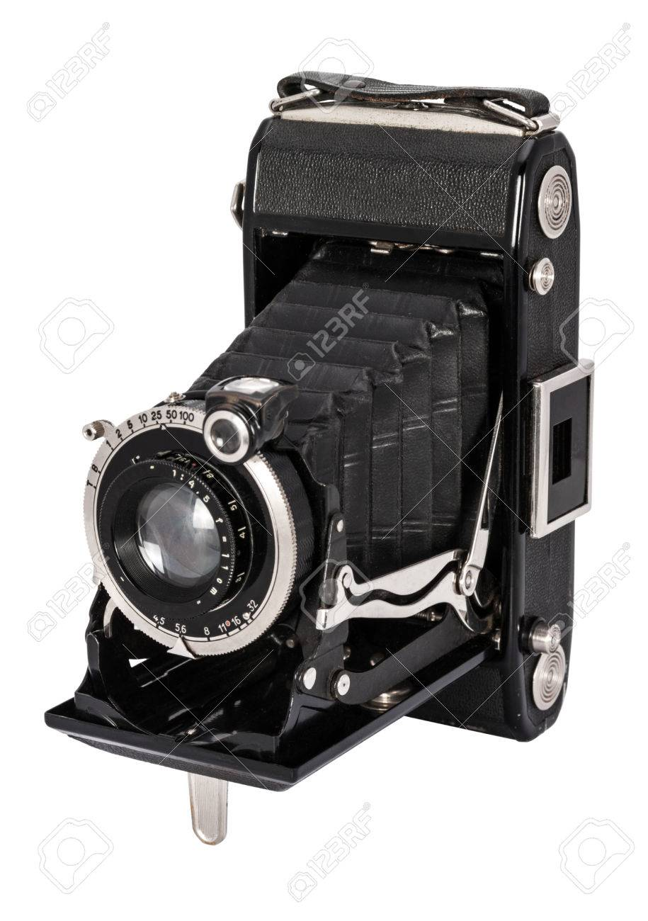 Old Large Format Camera Isolated On White Background Stock Photo