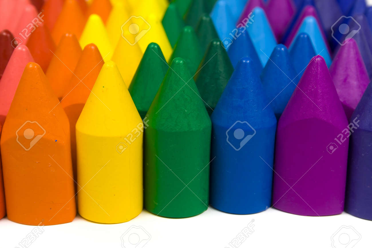 Mixed group of wax crayons several colors Stock Photo - 4463140