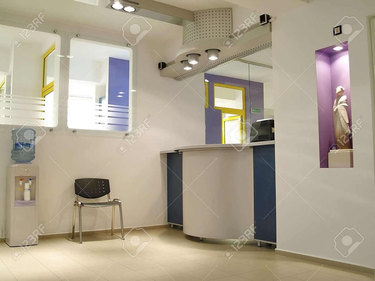 Aseptic Hospital Reception Bureau And Waiting Area Stock Photo