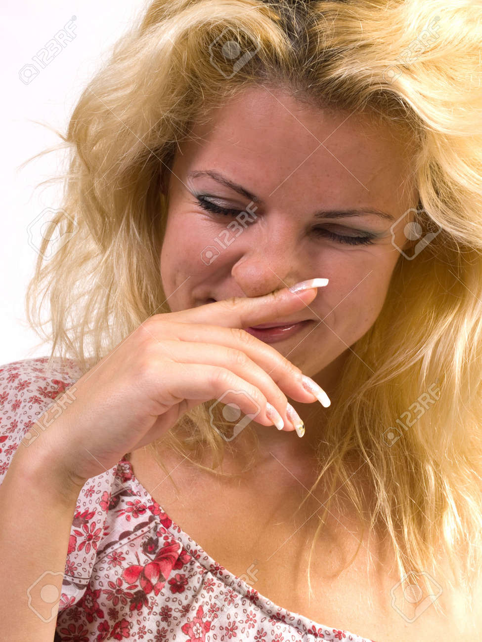 blond woman sneeze portrait on white background isolated Stock Photo - 3358046