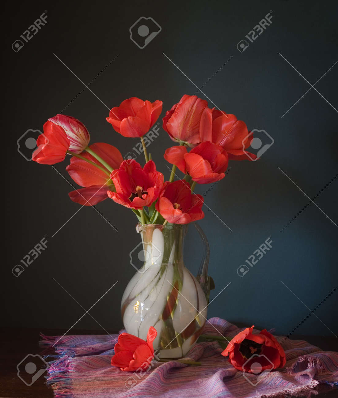 red tulips in a vase Stock Photo - 11544522