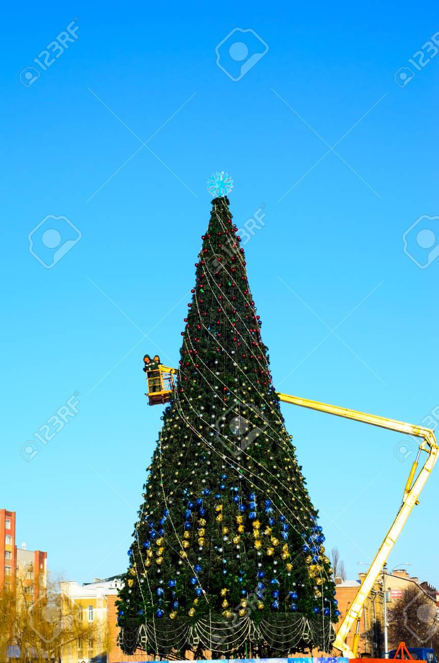 Dressing Christmas Tree On A Central Square Of Kremenchug, Ukraine ...