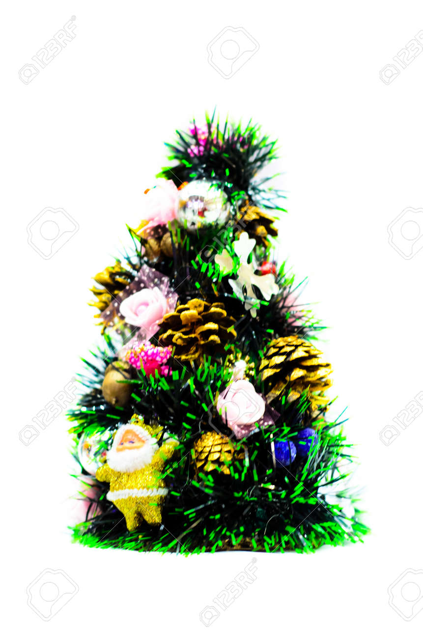 small artificial christmas tree with the decorations stock photo 70717435 - Small Artificial Christmas Tree