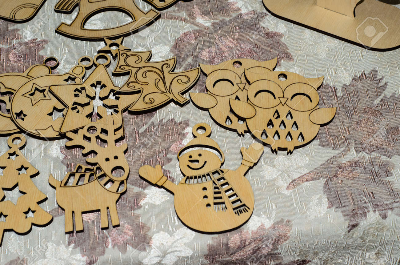 Christmas Decorations Handmade.Different Wooden Christmas Decorations Handmade Vintyage Ornaments