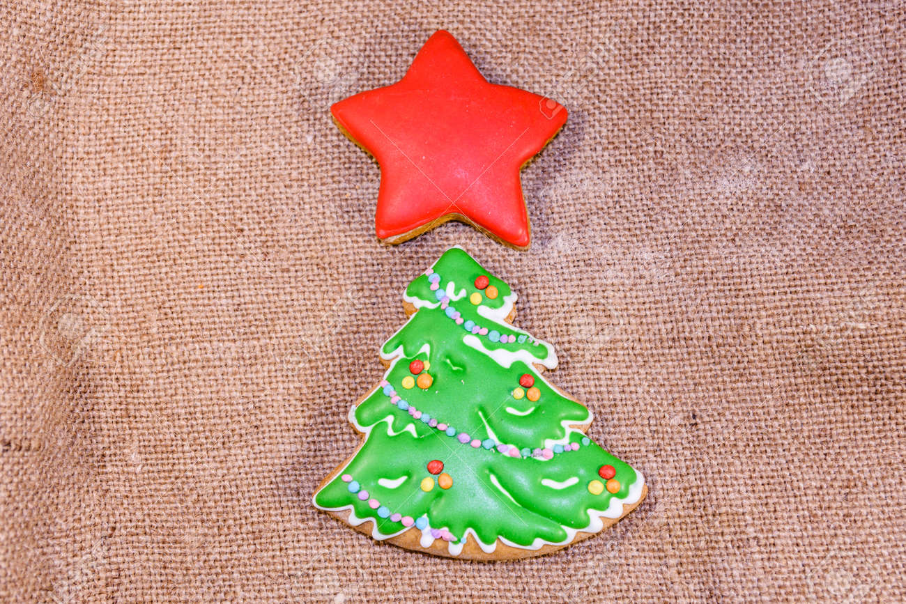 Gingerbread Christmas Tree And Star On Sackcloth Top View