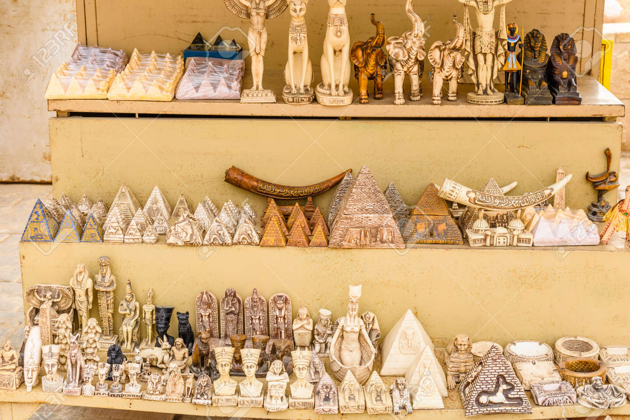 Different egyptian souvenirs for sale in street shop - 121052190