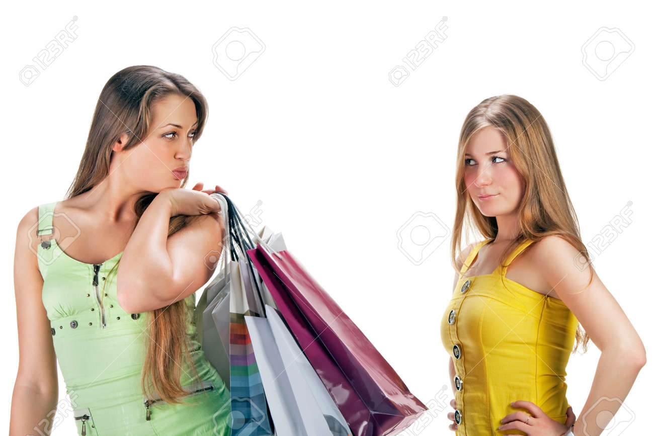 Shopping. Two beautiful girl with bag Stock Photo - 9051142