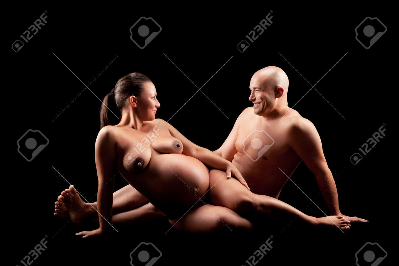Naked pregnant women and her husband