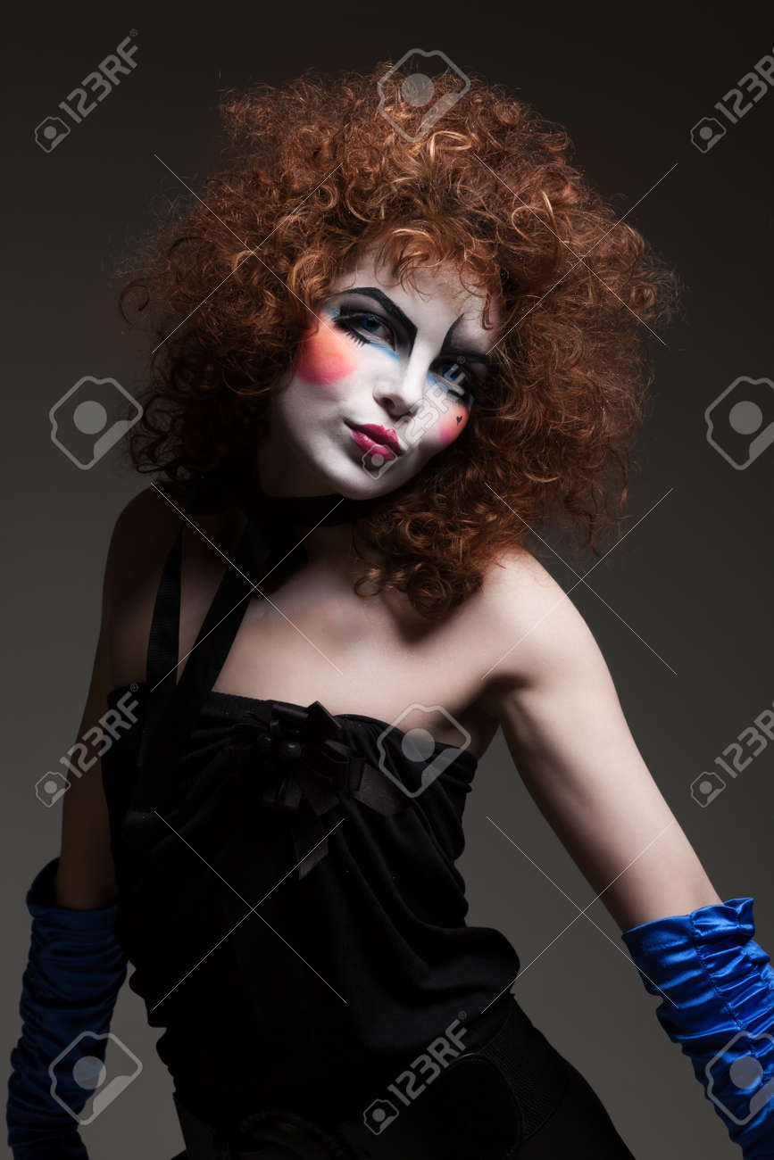 Stock Photo - woman mime with theatrical makeup