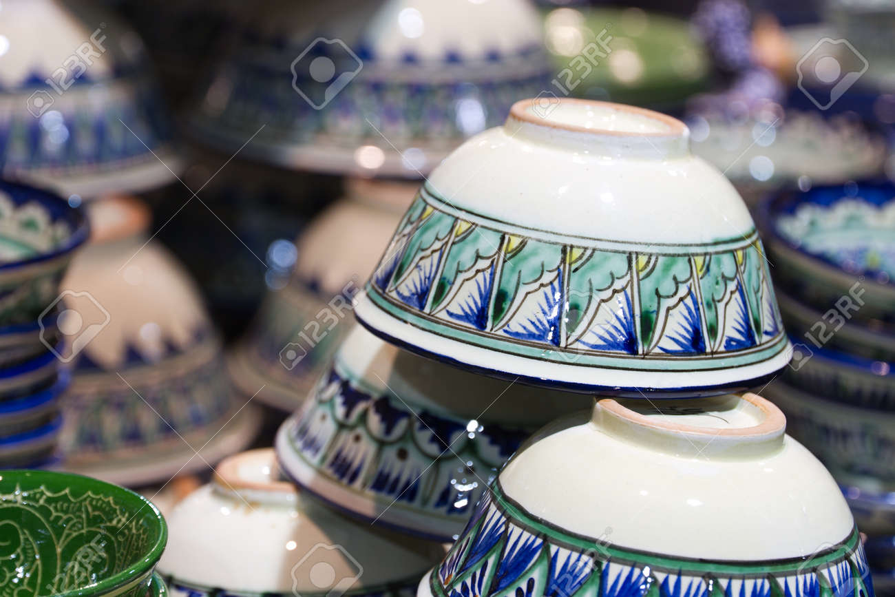 Handmade Traditional National Uzbek Kyrgyz Or Kazakh Ceramics Crockery Piala Tea Bowls Ware