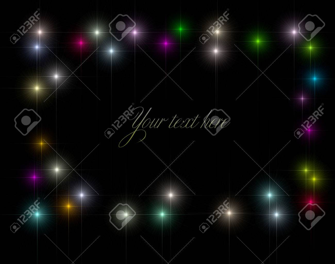 abstract background backdrop representing a starry frame border made of variegated varicolored sparkling