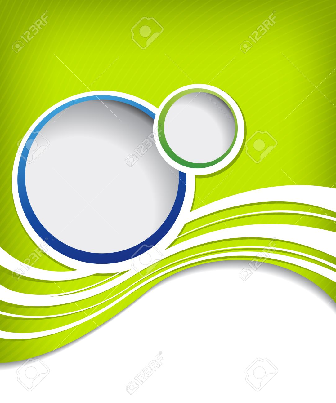 blue circle on green wave background flyer design stock photo