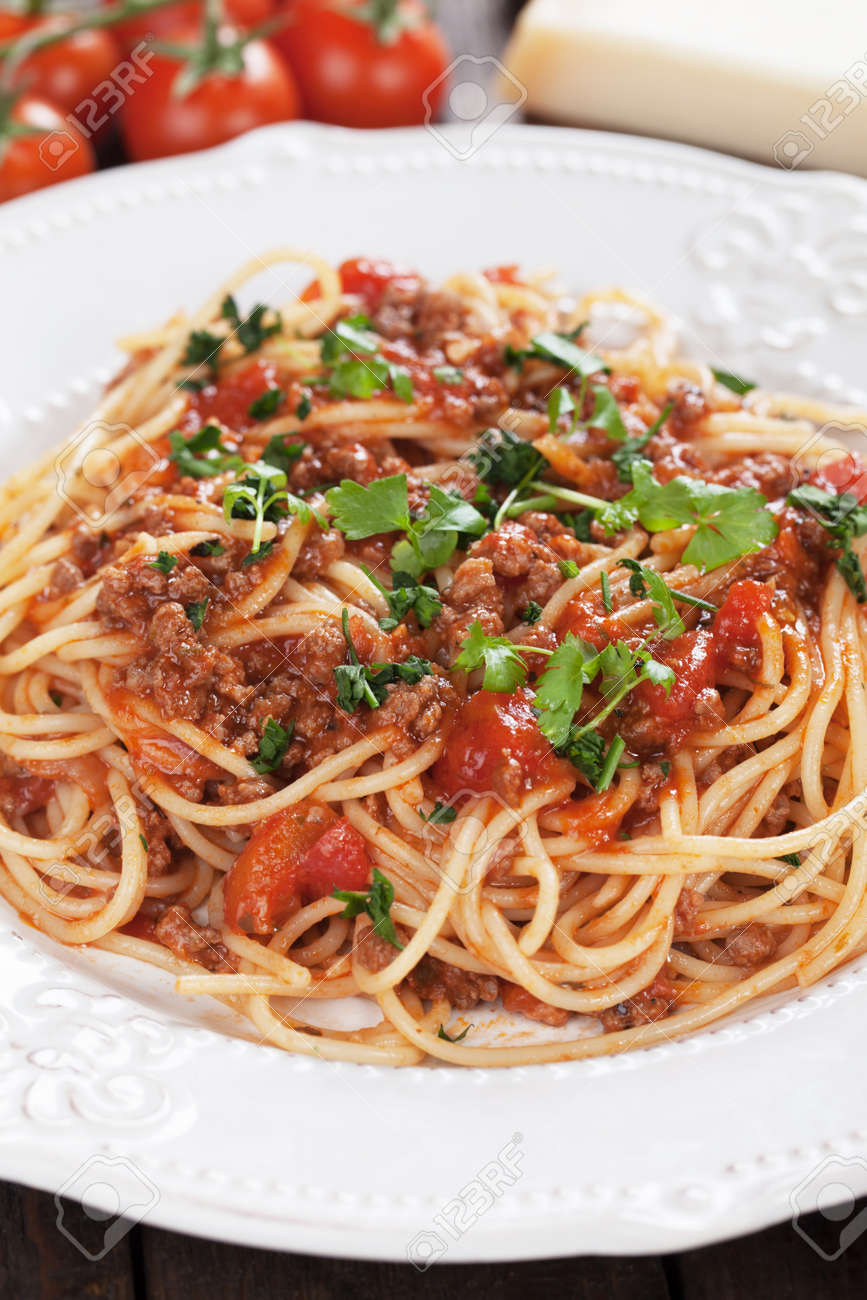 Italian Pasta Bolognese Spaghetti With Grund Beef And Tomato