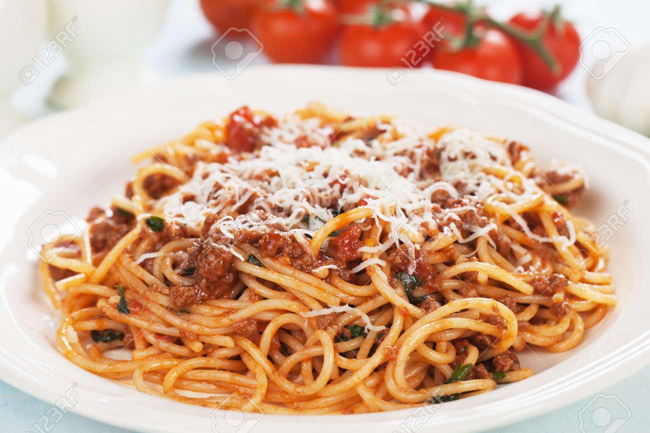 Italian Spaghetti Pasta In Ground Beef And Tomato Sauce Bolognese