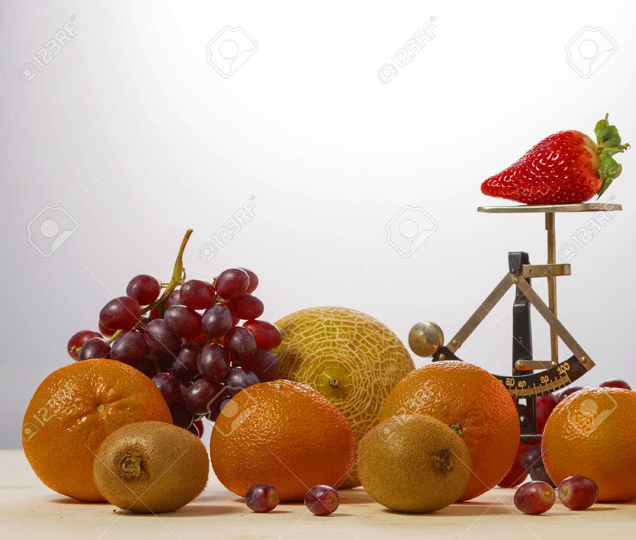 Trade With Fresh Juicy Fruits With Old Kitchen Scales Stock Photo ...