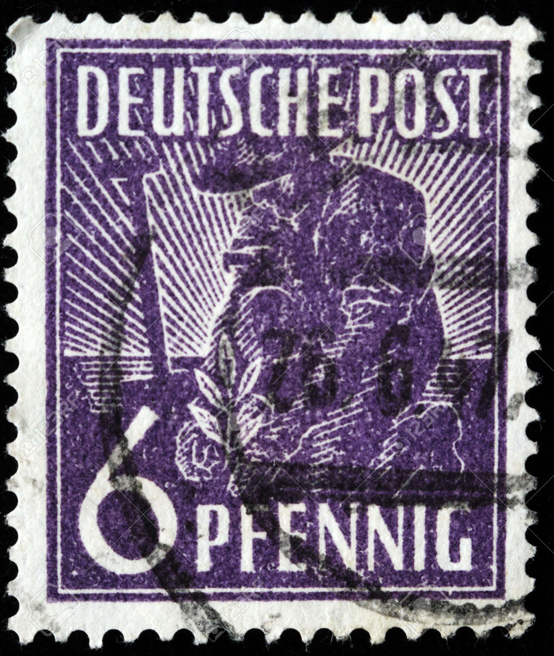 GERMANY - CIRCA 1947: A stamp printed in Germany shows farmer, plant germ, circa 1947 Stock Photo - 8154850