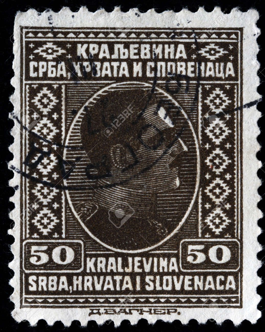 KINGDOM OF SERBIA, CROATIA AND SLAVONIA - CIRCA 1924: A stamp printed in Kingdom of Serbia, Croatia and Slavonia shows king Alexander I of Yugoslavia, circa 1924 Stock Photo - 8163207