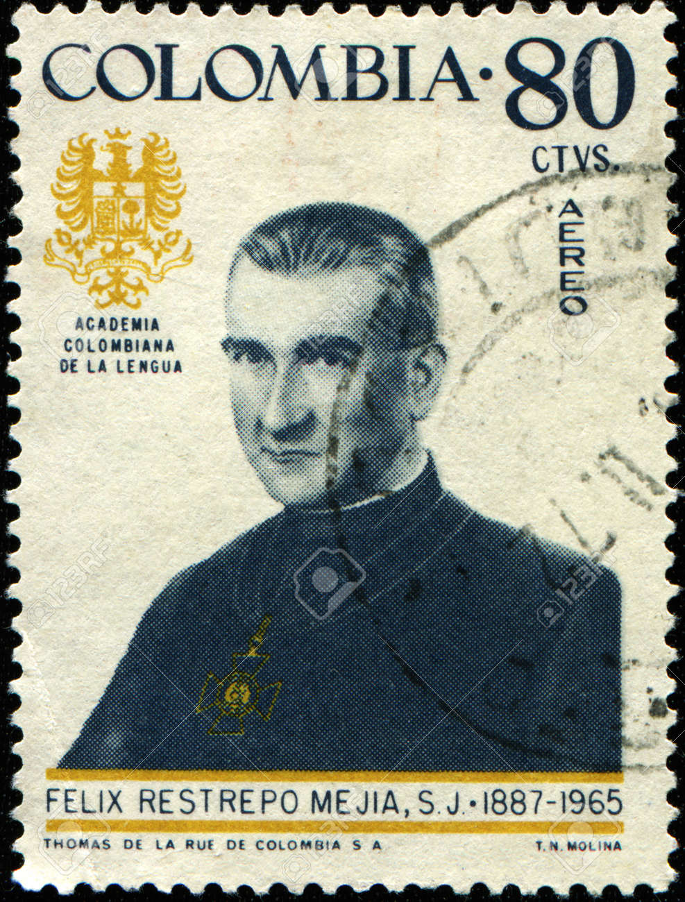 COLOMBIA - CIRCA 1972: A stamp printed in Colombia shows Felix Restrepo Mejia, circa 1972 Stock Photo - 8494920