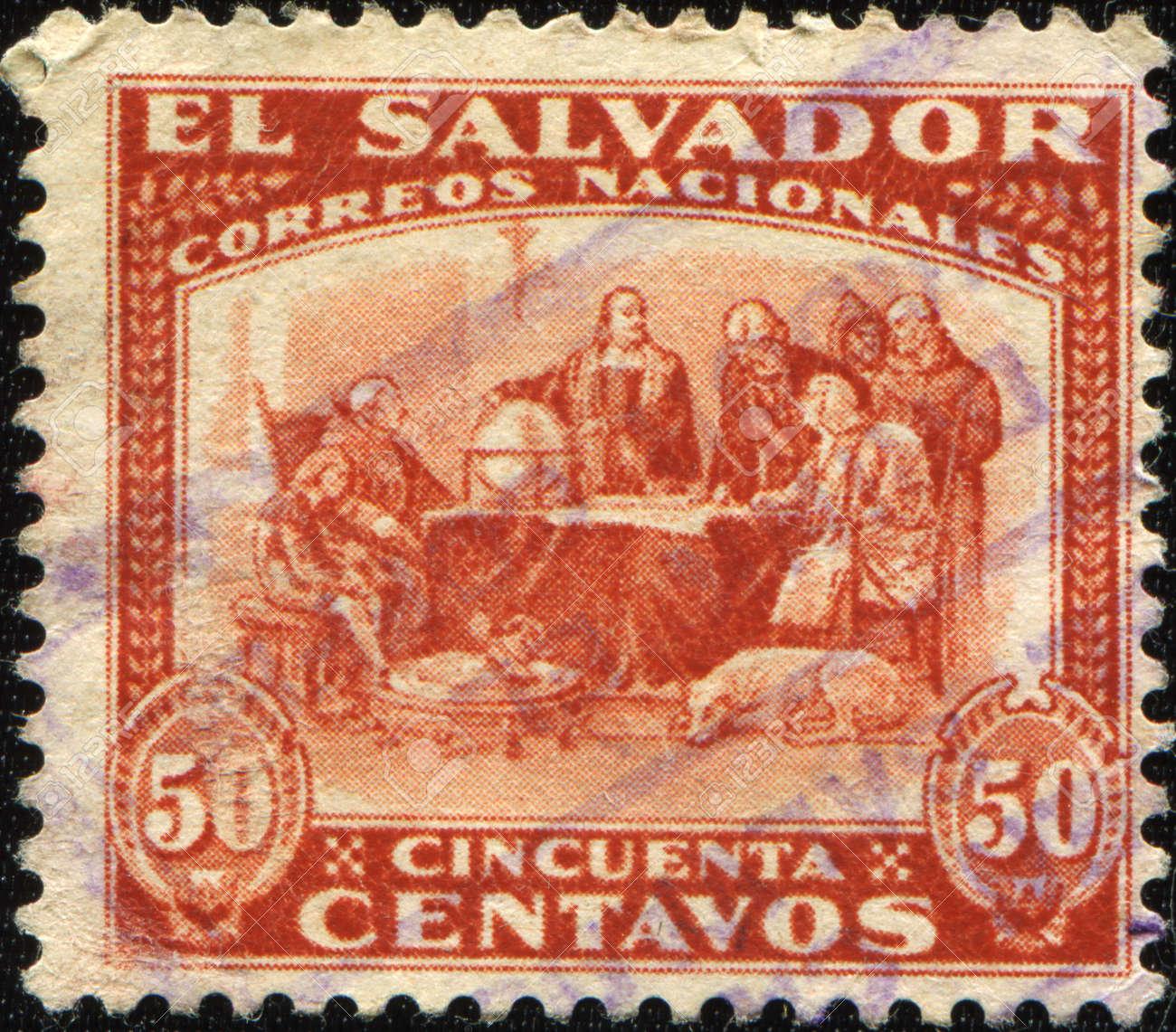 SALVADOR - CIRCA 1892: A stamp printed in Salvador shows draw by Izquierdo