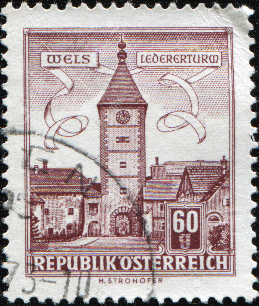 AUSTRIA - CIRCA 1962: A stamp printed in Austria shows Wells Ledererturm Clock Tower, circa 1962 Stock Photo - 8681976