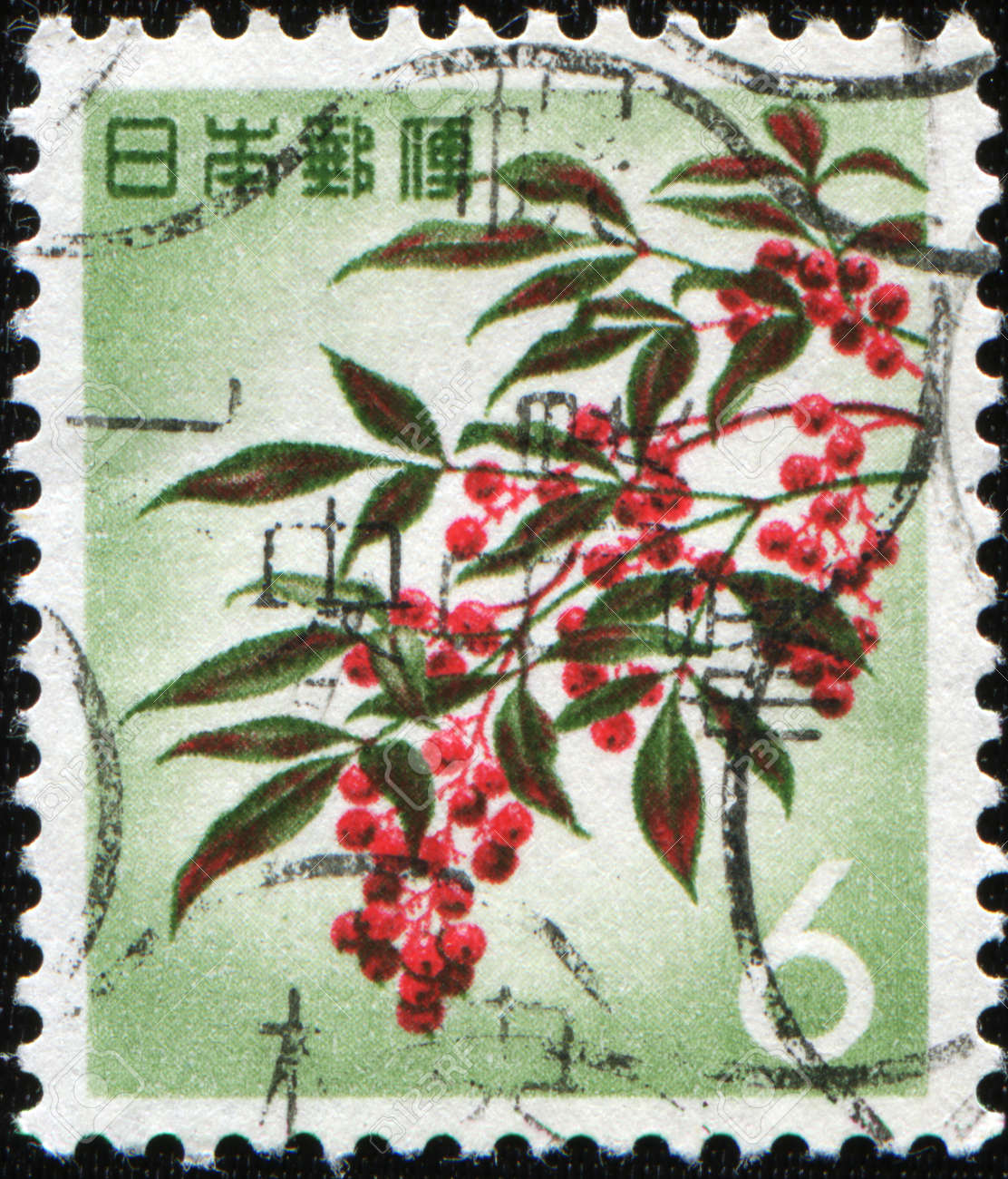 JAPAN - CIRCA 1960s: A stamp printed in Japan shows Japanese rowans or mountain-ashes - Sorbus commixta, circa 1960s Stock Photo - 8682021