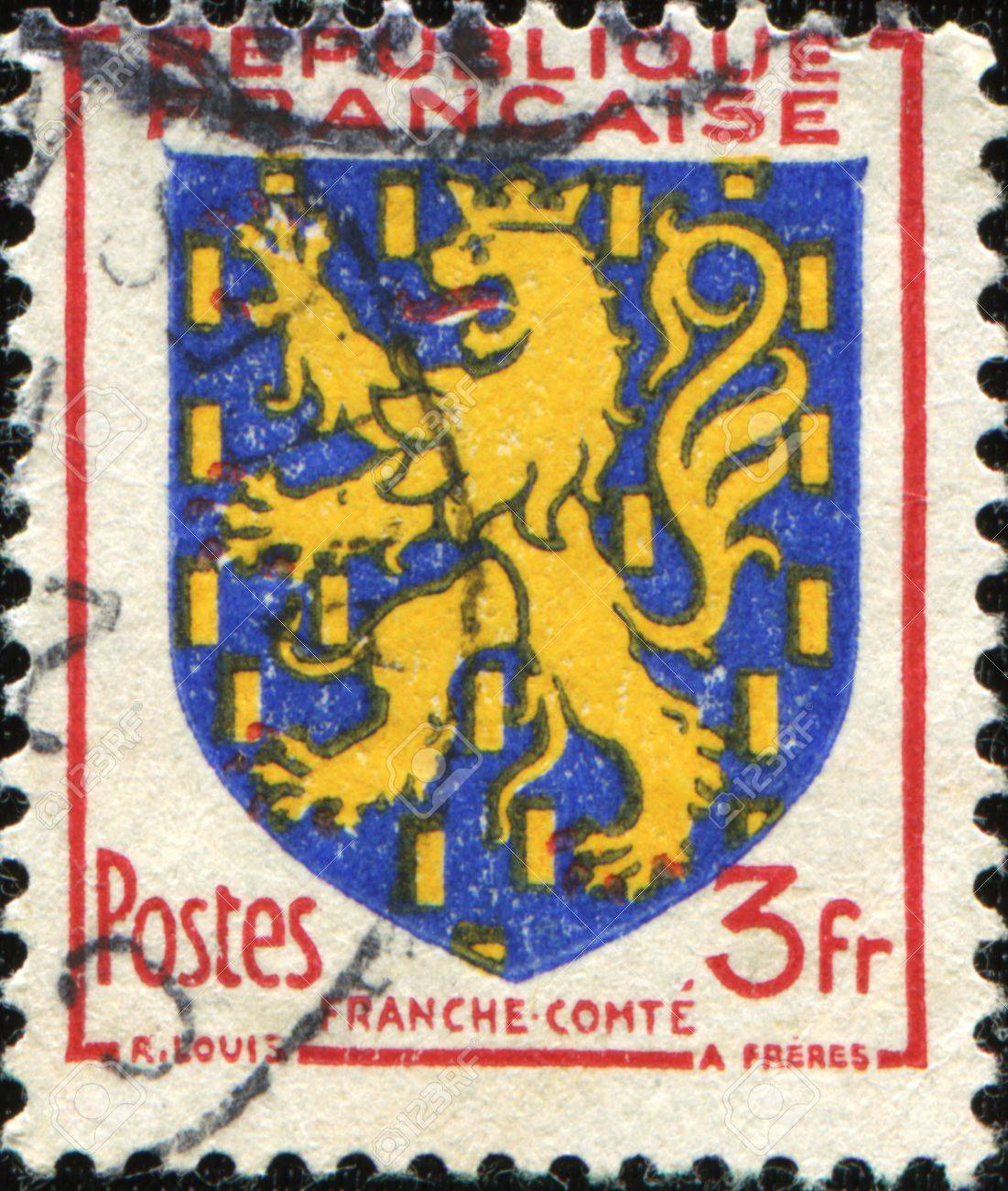 FRANCE - CIRCA 1951: A stamp printed in France shows coat of arms of Franch Comte, circa 1951 Stock Photo - 8777068