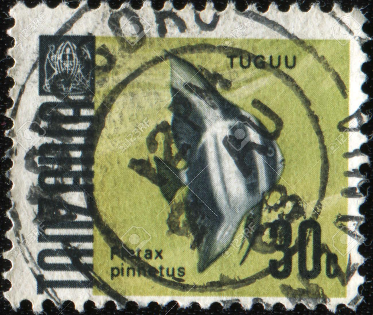 TANZWNIA - CIRCA 1973: A stamp printed in Tanzania shows West African spadefish - Ephippidae, circa 1973 Stock Photo - 8964204