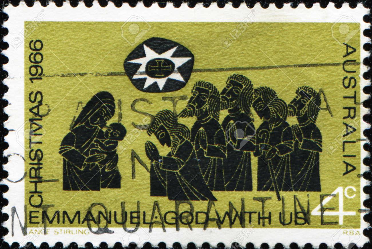 Australien - CIRCA 1966: Einen Stempel Von Australien Shows Anbetung ...
