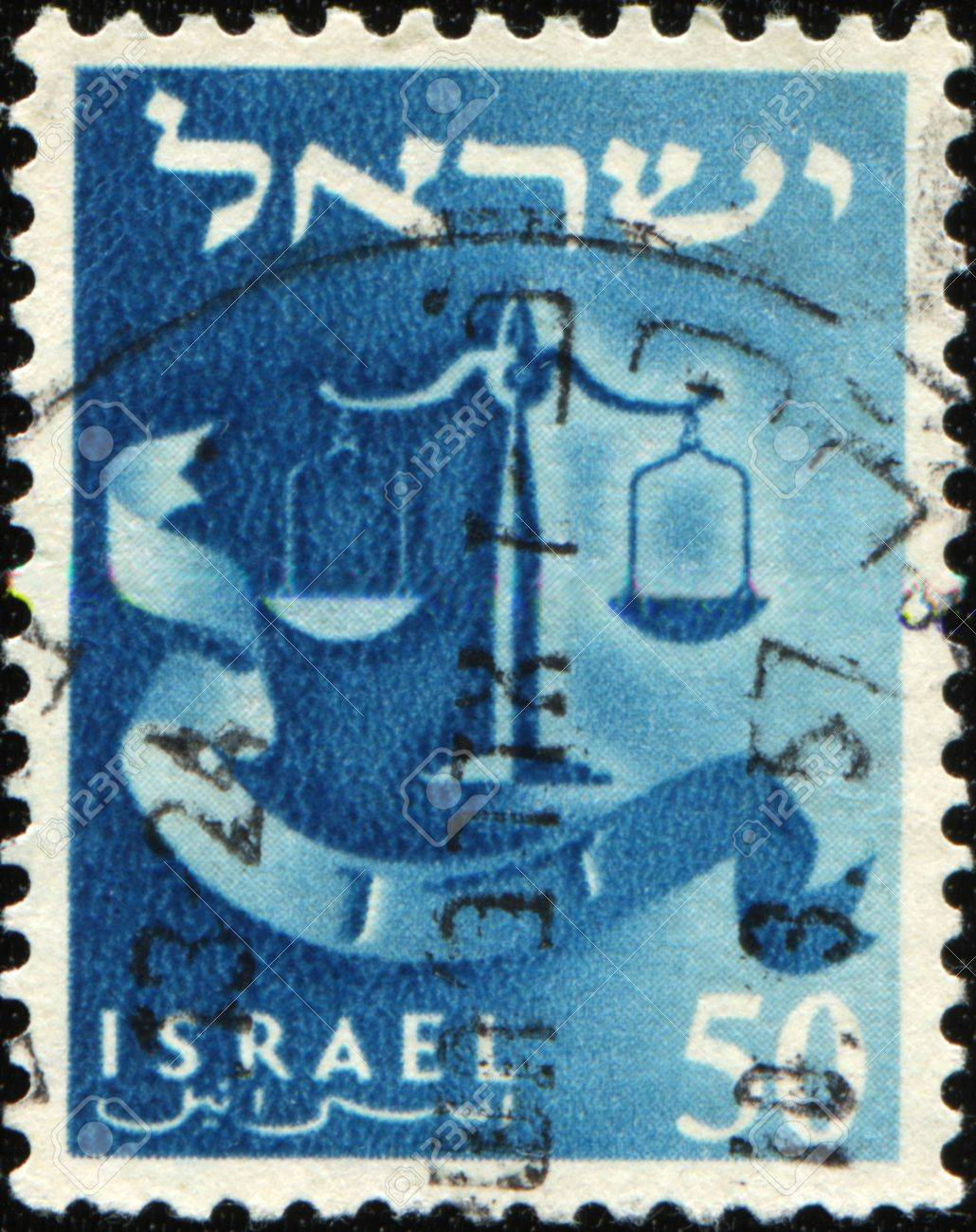 ISRAEL - CIRCA 1955: A stamp prined in Israel honoring Twelve Tribes of Israel shows Dan - scales, circa 1955 Stock Photo - 9180306