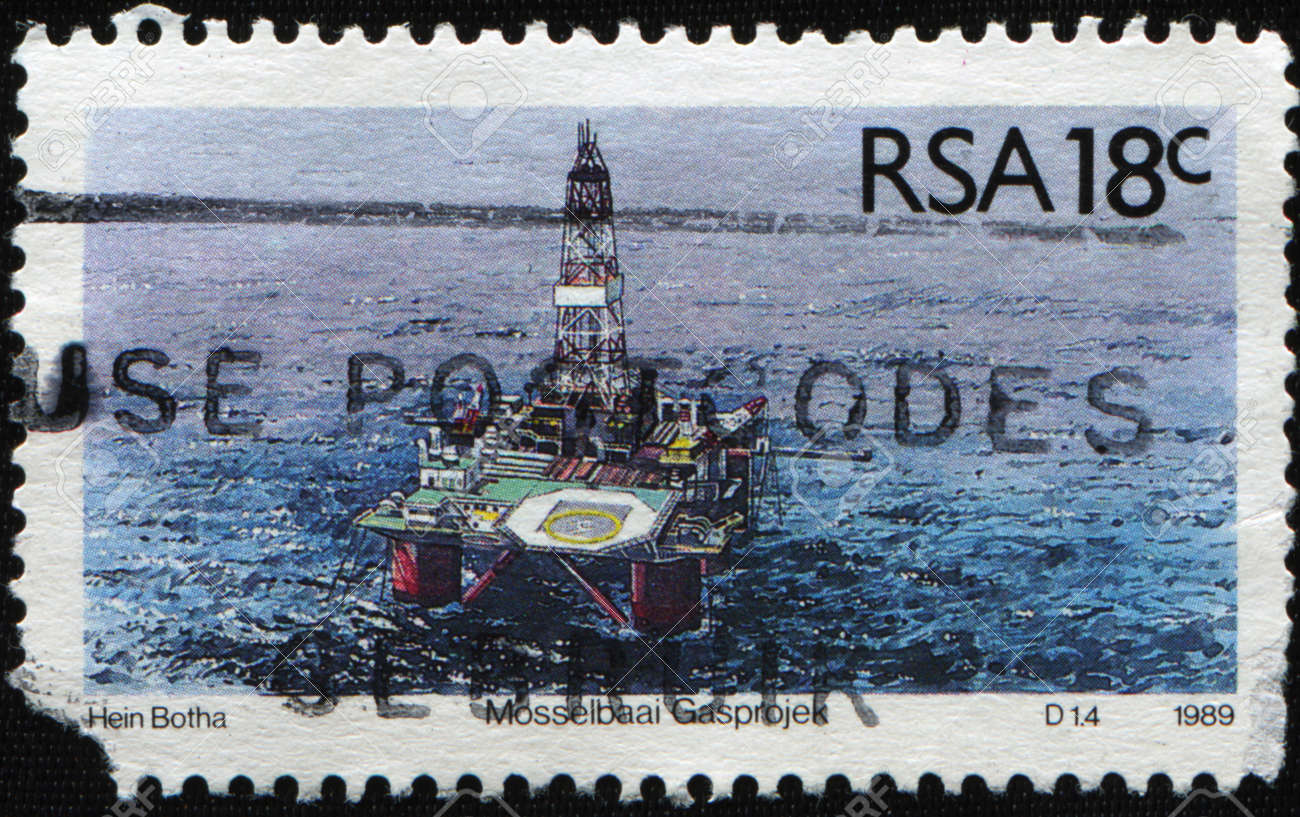 SOUTH AFRICA - CIRCA 1989: A stamp printed in South Africa shows Mosselbaai Gasproject, circa 1989 Stock Photo - 9231659