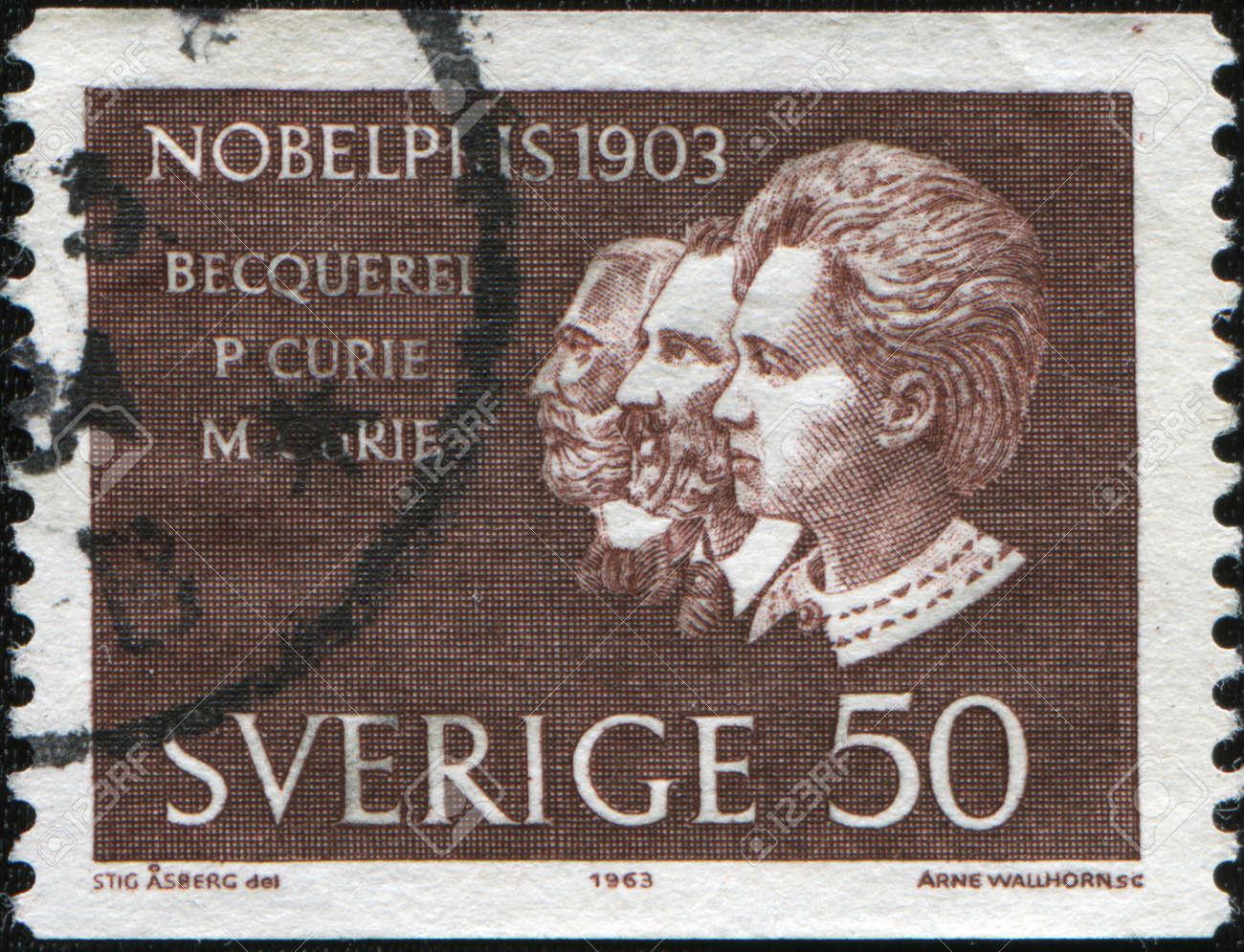SWEDEN - CIRCA 1963: A stamp printed in Sweden shows Nobel laureate Antoine Henri Becquerel, Pierre and Marie Curie, circa 1963 Stock Photo - 10415465