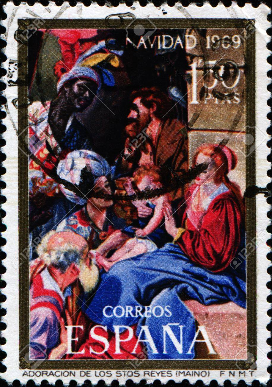 SPAIN - CIRCA 1969: A greeting Christmas stamp printed in Spain shows paine by Fray Juan Bautista Maino  Stock Photo - 10707142