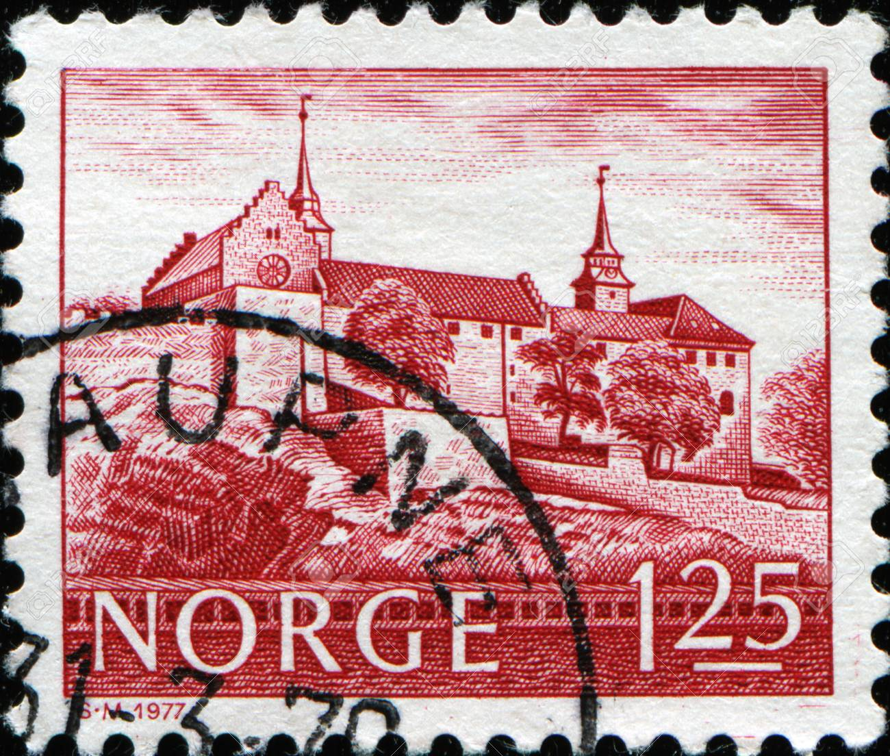 NORWAY-CIRCA 1977:A stamp printed in NORWAY shows image of Akershus Fortress or Akershus Castle is a medieval castle that was built to protect Oslo, the capital of Norway, circa 1977 Stock Photo - 11262378